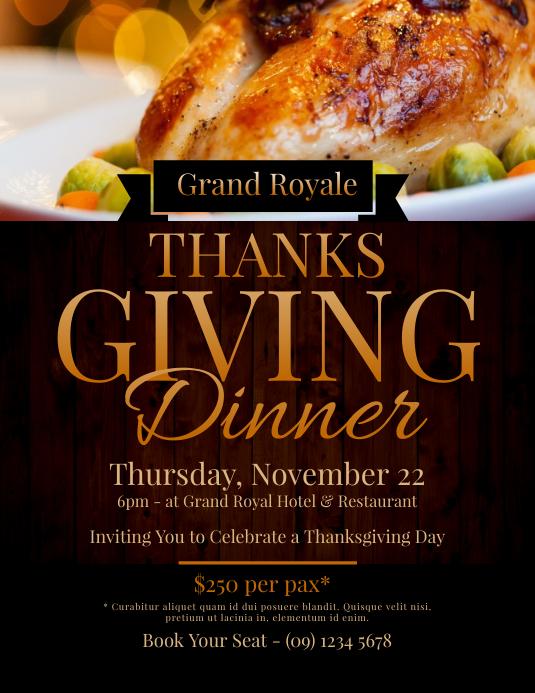Thanksgiving Dinner Flyer Template PosterMyWall