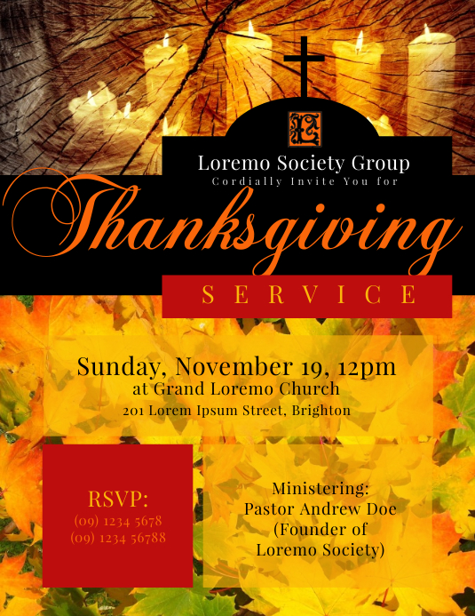Thanksgiving Service Flyer Template PosterMyWall