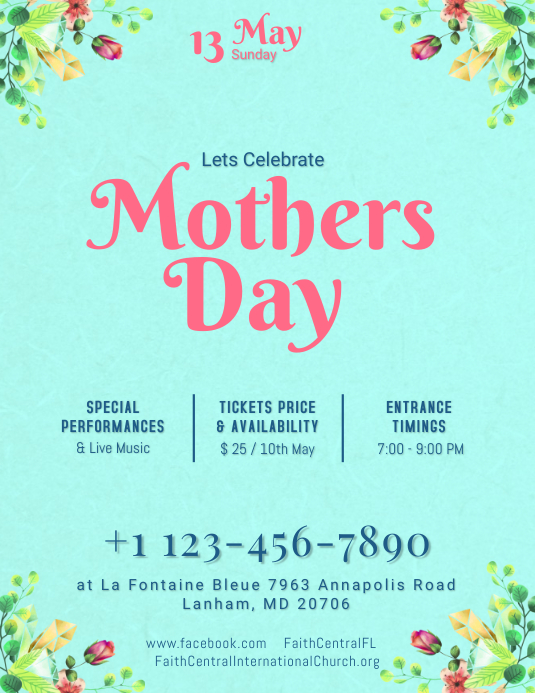 Turquoise Mothers Day Flyer Template PosterMyWall