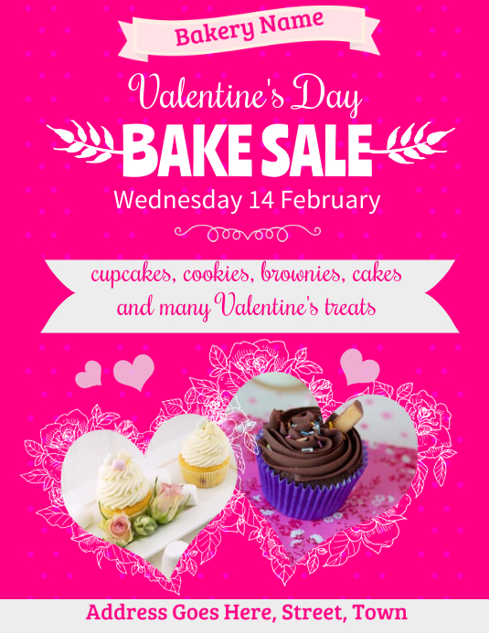 Valentines Bake Sale Flyer Template PosterMyWall