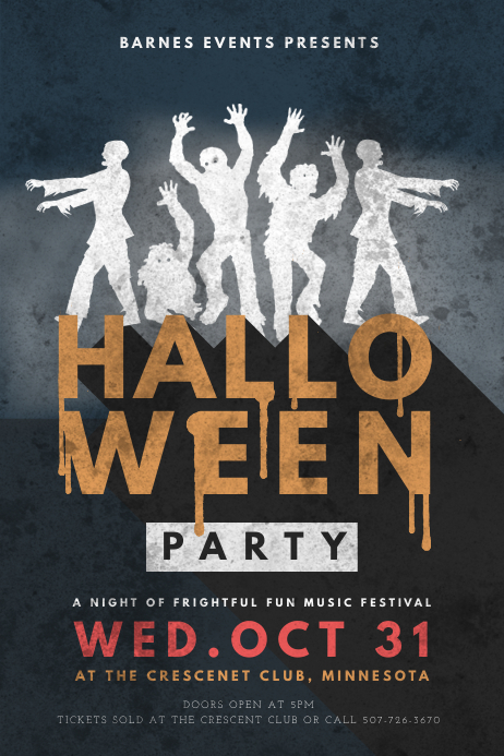 Vintage Halloween Music Party Flyer Design Template PosterMyWall