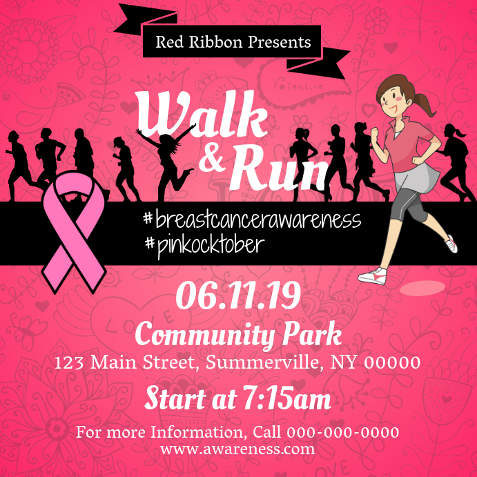 Walk-a-thon Breast Cancer Awareness Square Image Template PosterMyWall