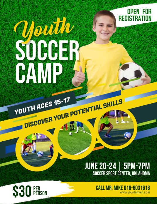 Youth Soccer Camp Flyer Template PosterMyWall
