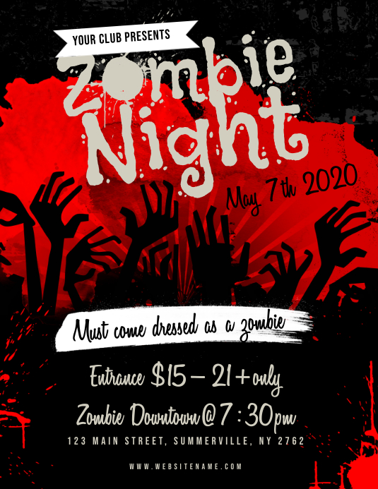 Zombie Night Flyer Template PosterMyWall