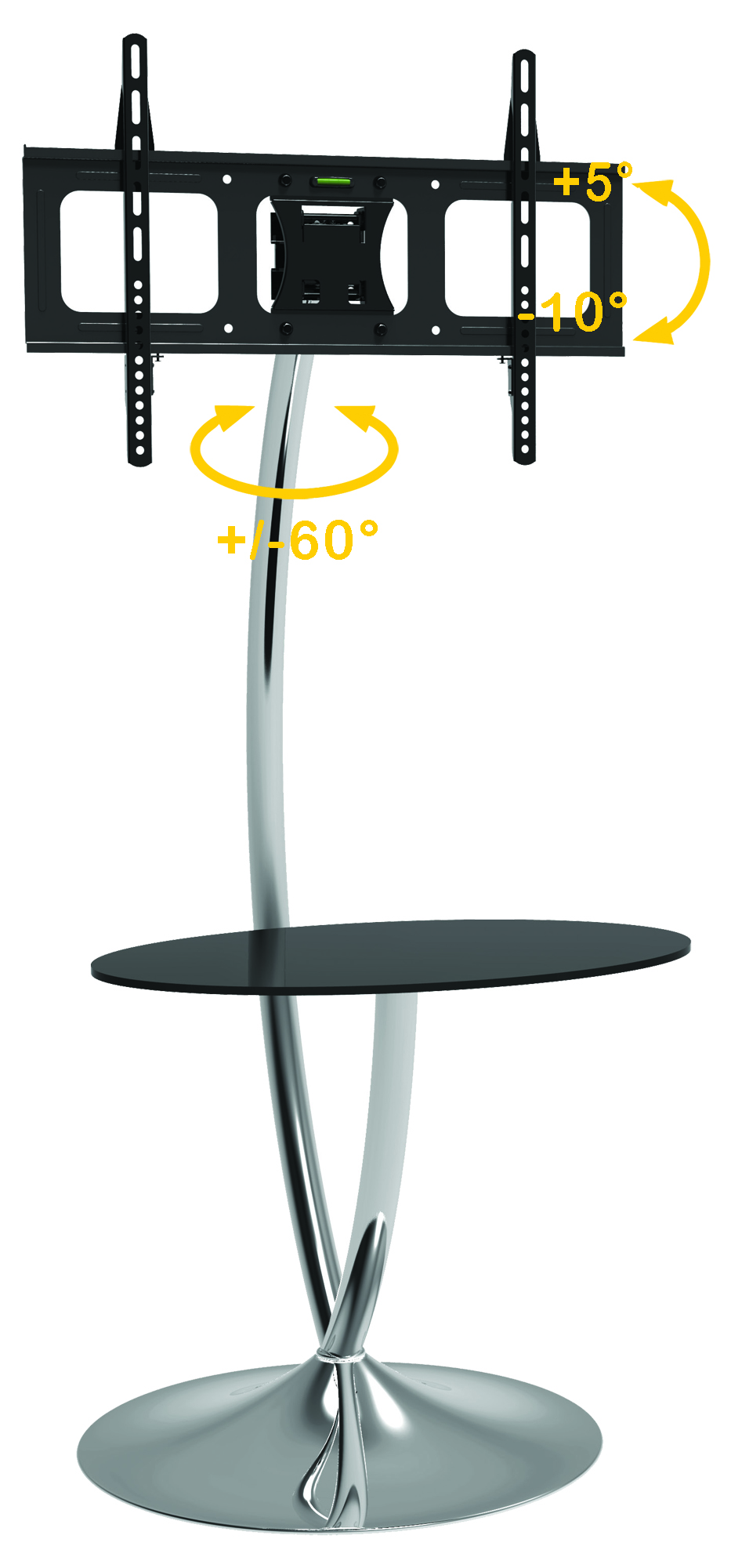 Supporto Tv Con Mensole Free Standing Floor Support With Round Base And Shelf For Lcd Led Tv 32 70