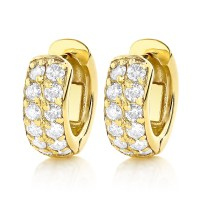 Diamond Hoop Earrings 14K Gold 1 Carat Diamond Huggie Earrings