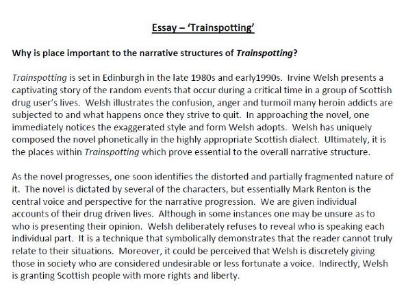 Trainspotting Essay By Poetryessay Teaching Resources