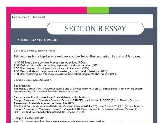 MUSIC EDEXCEL GCSE (9-1) ANALYSIS OF SECTION B - ESSAY QUESTION by