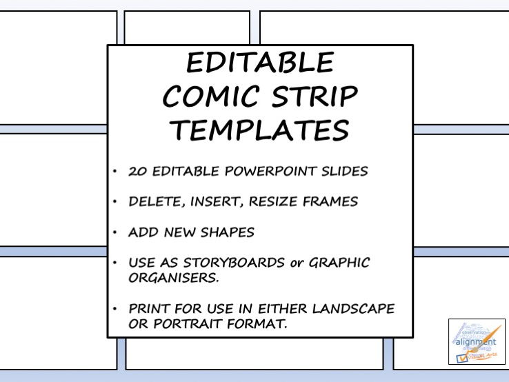 Editable Comic Strip Templates by TicktheArtBox - Teaching Resources - comic strip template