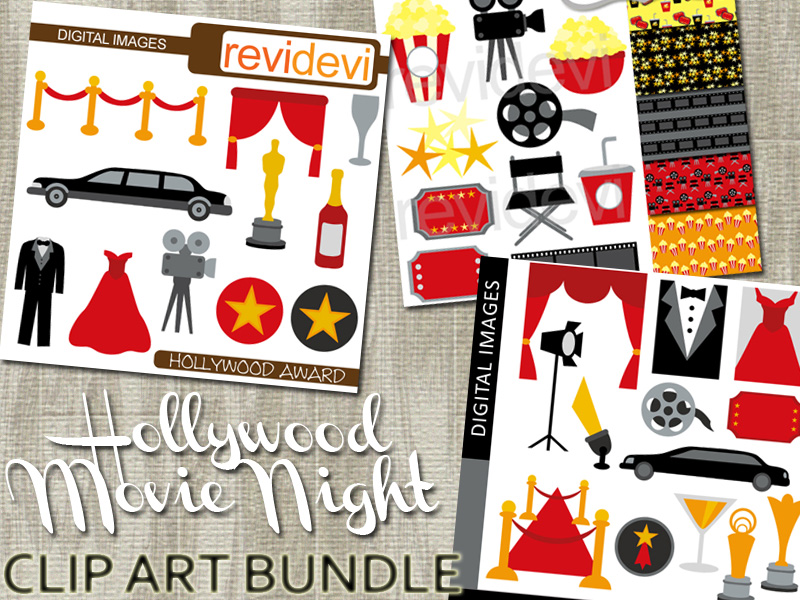 Hollywood Movie Night Clip Art Bundle Red Carpet Party