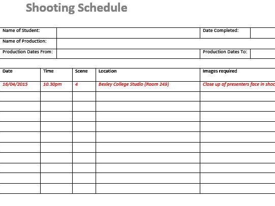 Shooting Schedule (Film  TV/Media Students) by stefanbracher