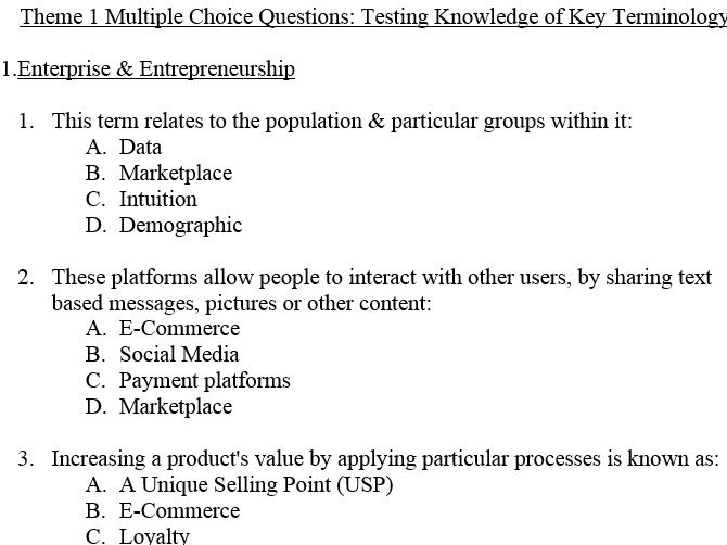 EDEXCEL GCSE BUSINESS 9-1 THEME 1 MULTIPLE CHOICE REVISION QUIZZES