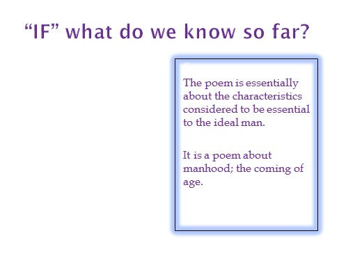 PowerPoint to help with analysis of the poem IF by Rudyard Kipling - poetry powerpoint