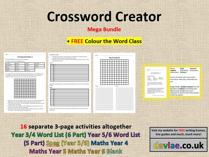 Crossword Creator - Blank (+ FREE COLOUR THE WORD CLASS) by davlae - blank crossword template