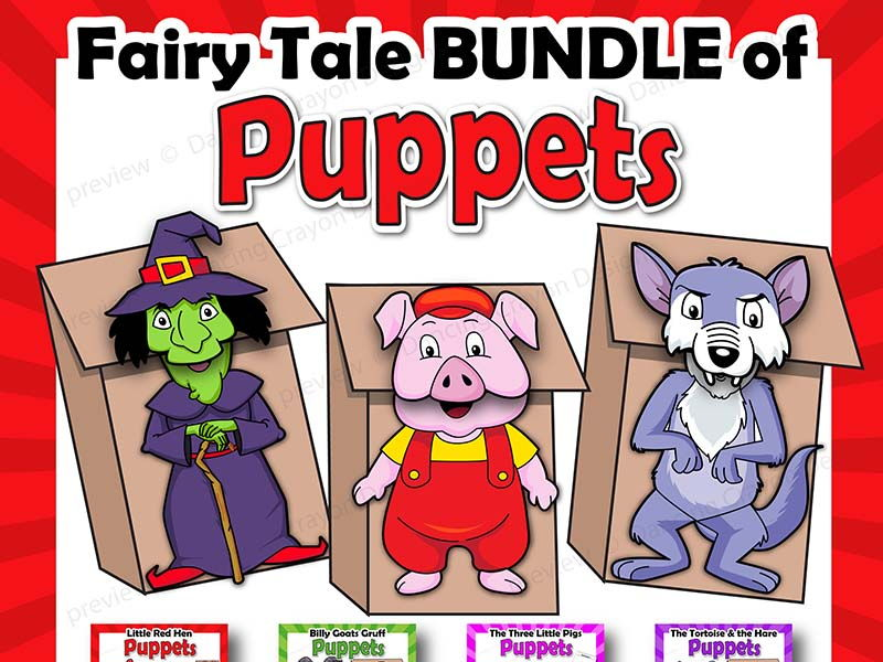 Fairy Tales Craft Activity Printable Paper Bag Puppets by
