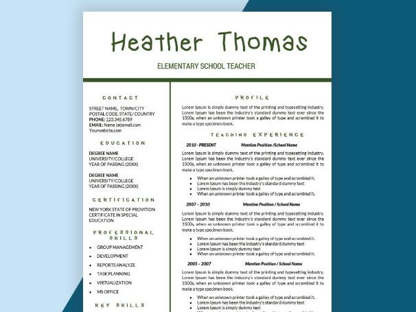 Teacher Resume, CV Templates, Teaching Resume Cover Letter Instant