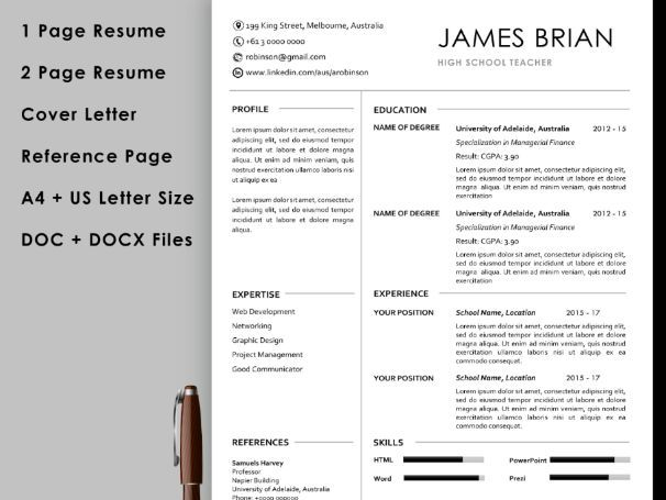 Teacher resume template with cover letter and reference page instant