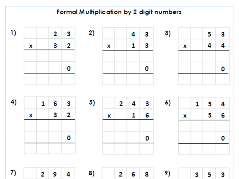 Year 5 6 Formal Multiplication By 2 Digit Numbers