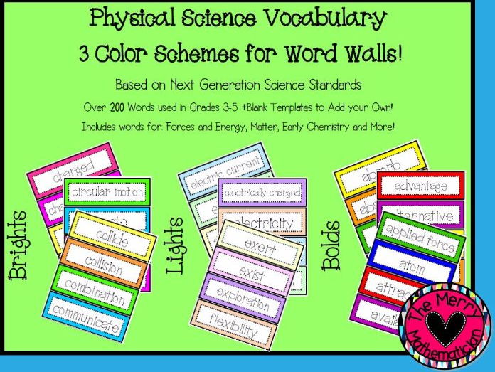 Physical Science Vocabulary Cards for Word Walls or Activities by - vocab cards
