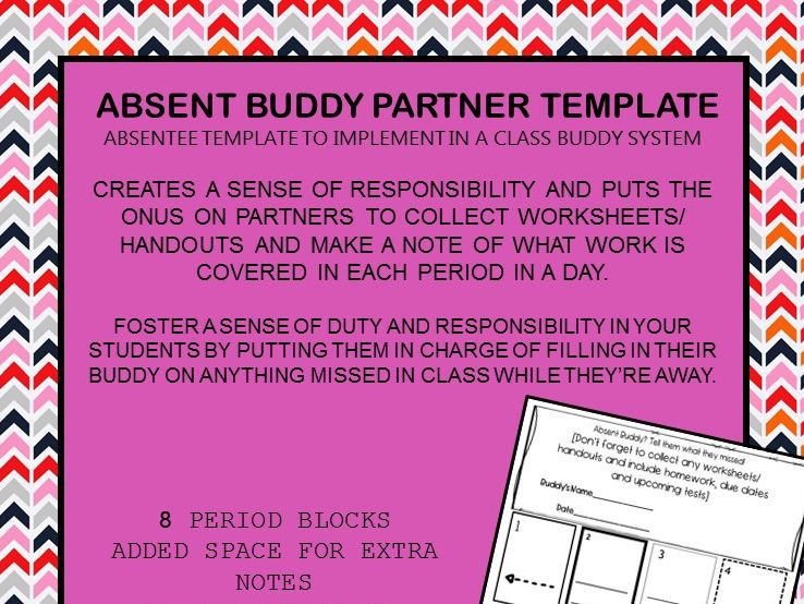 FREEBIE Absent Buddy Template by underthedesk - Teaching Resources