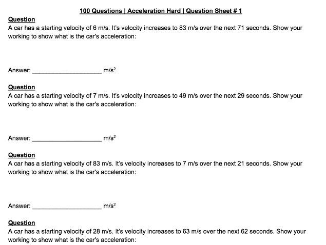 200 Acceleration Calculation Questions and Answers by b_barker4
