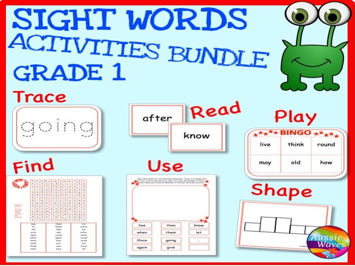 Sight Words BUNDLE GRADE 1 Printable Activities for Centres and