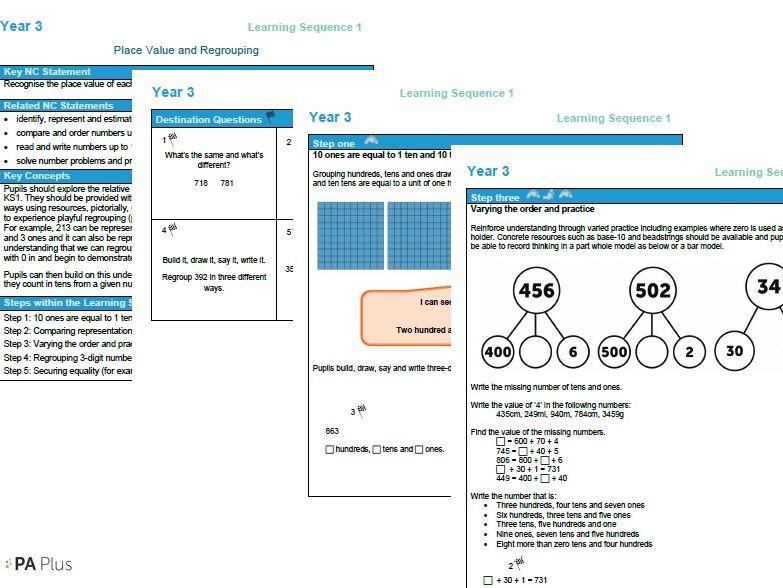 Year 3 maths plan Place Value ESSENTIAL maths by HfLMathsandEng - place value unit