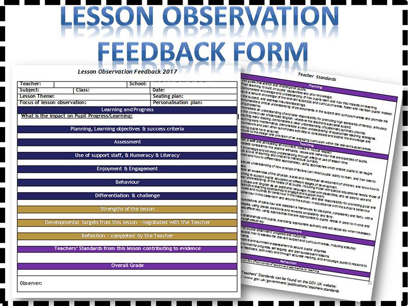 Lesson observation feedback sheet/form \u2013 linked to Teacher Standards - observation feedback form