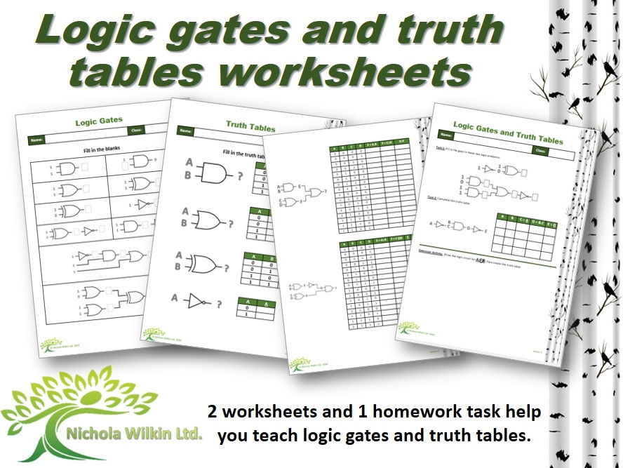 Logic Gates And Truth Tables Worksheet Pack Gcse Computer