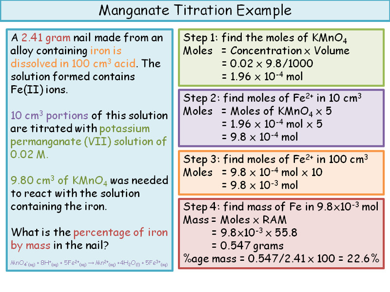 Redox Titrations - Lesson and Worksheet by ineedtoteachthat - titrations