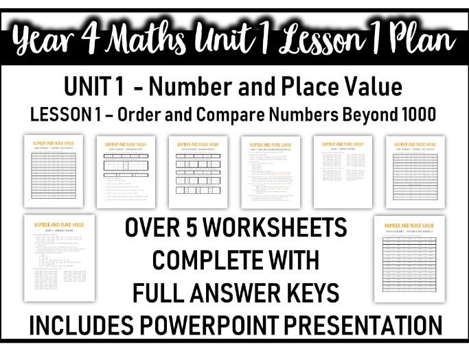 Year 4 Number and Place Value Unit Lesson 1 (Order and Compare - place value unit