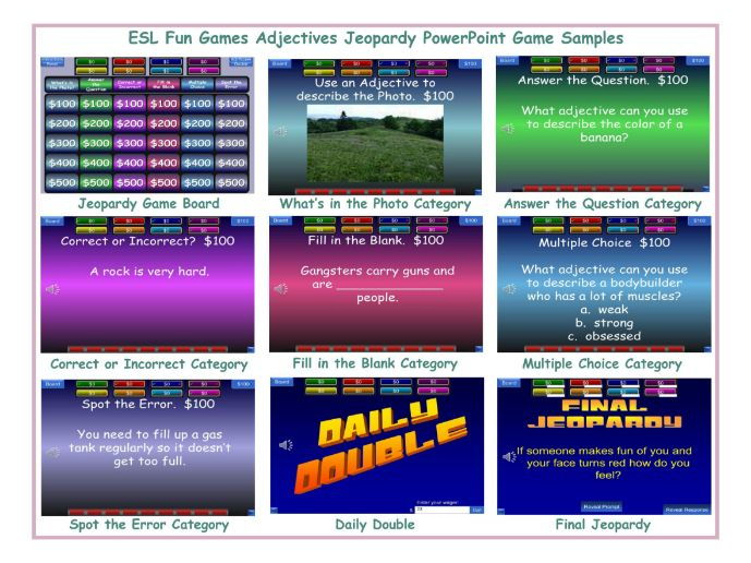 Adjectives Jeopardy PowerPoint Game by eslfungames - Teaching - sample jeopardy powerpoint