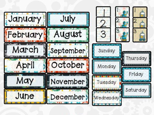 Robot Theme Calendar Pieces by mrsphillips777 - Teaching Resources - Tes