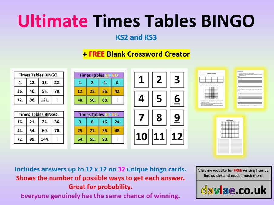 Ultimate Times Tables Maths BINGO for KS2 and KS3 (+ FREE BLANK - blank crossword template