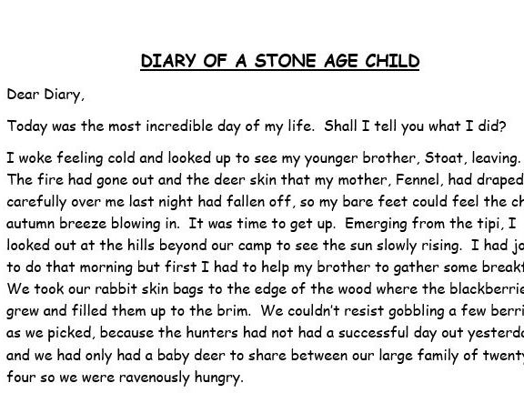 WAGOLL - Diary of a Stone Age Child - example diary text for Y3/4
