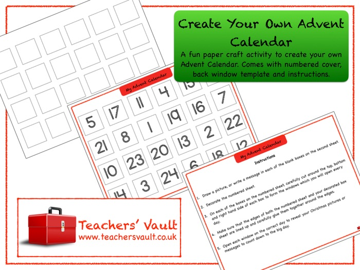 Make Your Own Advent Calendar Template Costumepartyrun