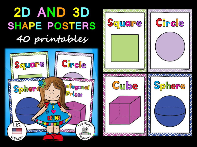 Shape Posters (2D  3D) (US version) - 40 printables by
