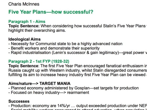 History A Level Success of the Stalin\u0027s Five Year Plans Essay Plan