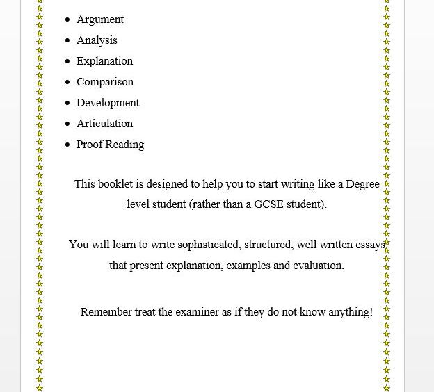 A Level Essay Writing Technique Booklet by IThinkThereforeITeach