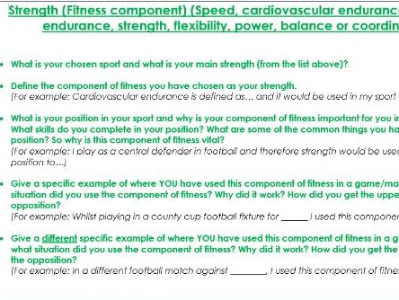 AQA GCSE PE Analysis of Performance 2017 - Templates by DanGardner10
