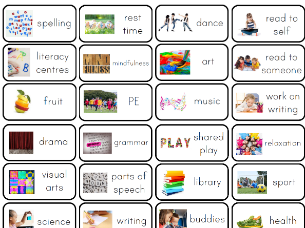 Visual Timetable Cards By Clevermonkey Teaching