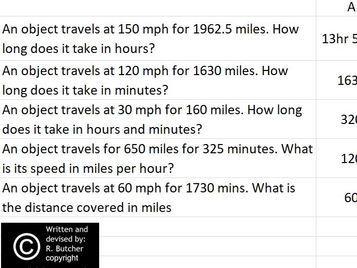 Speed Distance Time Practice Interactive Spreadsheet by Ralphbutcher