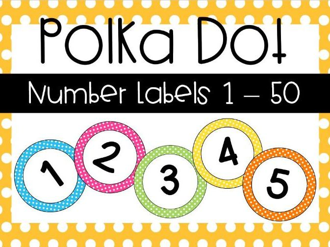 Polka Dot Number Labels 1-50 by delfinolameep - Teaching Resources - Tes