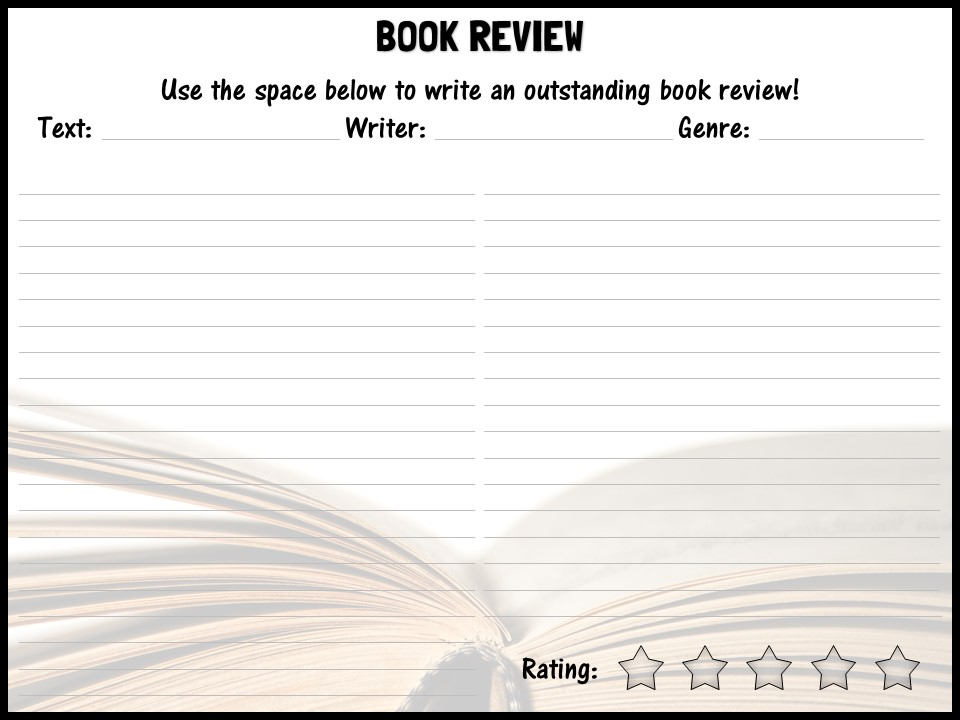 Book review template by shaunandrewwilliams - Teaching Resources - Tes - book review template
