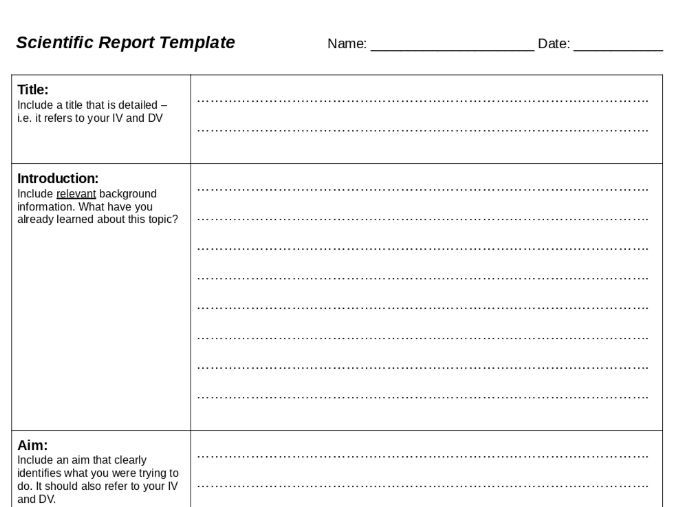 Scientific Report Template by holly_synot - Teaching Resources - Tes
