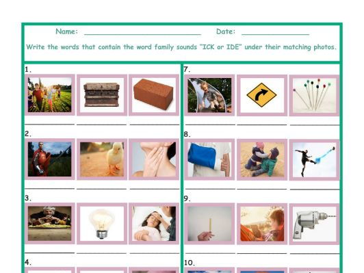 Word Family Sounds ICK-IDE Worksheet by eslfungames - Teaching