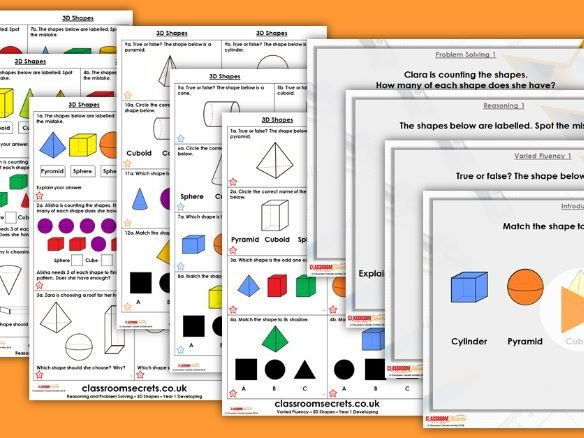 FREE Year 1 3D Shapes Autumn Block 3 Step 1 maths Lesson Pack by