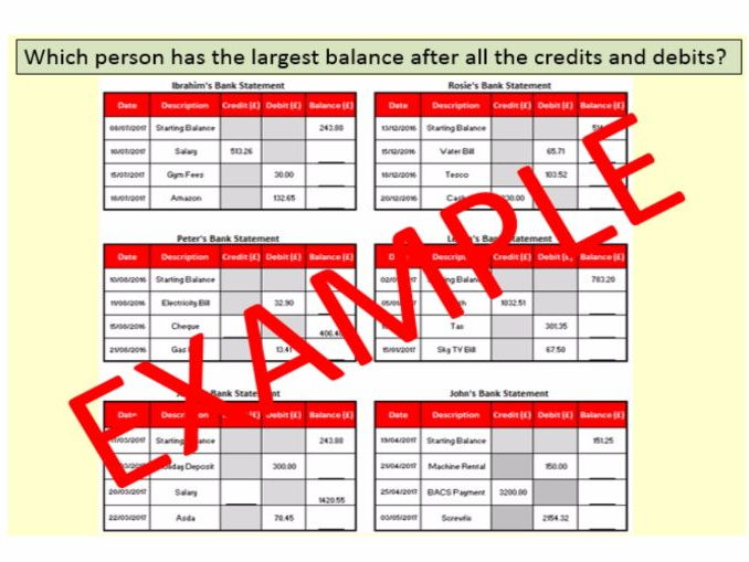 Completing Bank Statements - GCSE Maths Questions by pncullen1984