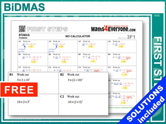 BiDMAS (Worksheets with Solutions) by Maths4Everyone - Teaching