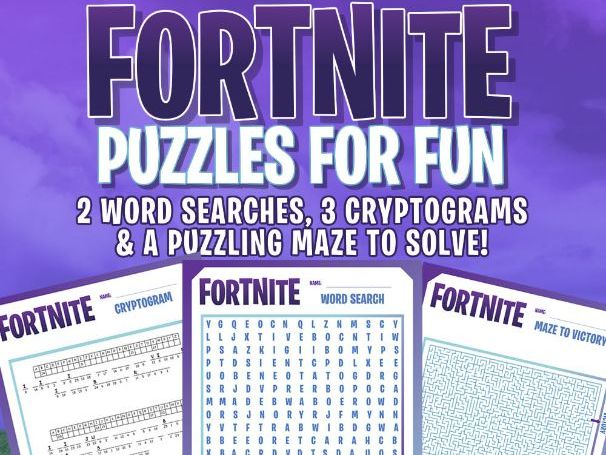 FORTNITE - FUN PUZZLES - Word Searches, Cryptograms,  Maze by
